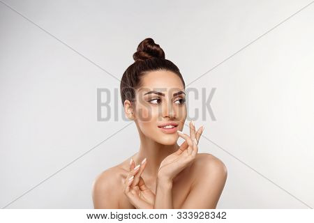 Beautiful Woman Portrait, Skin Care Concept, Skin Care. Dermatology. Portrait Of Female Hands With M
