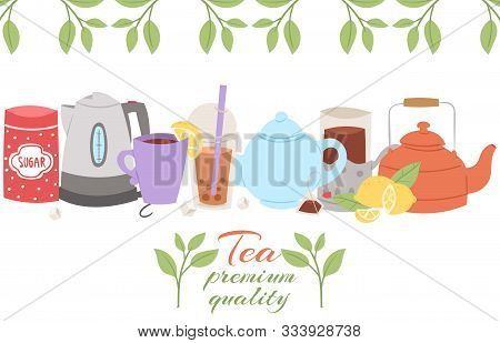 Tea Party Collection, Vector Illustration. Cup Of Bubble And Herbal Tea On Spring Background, Herbs,