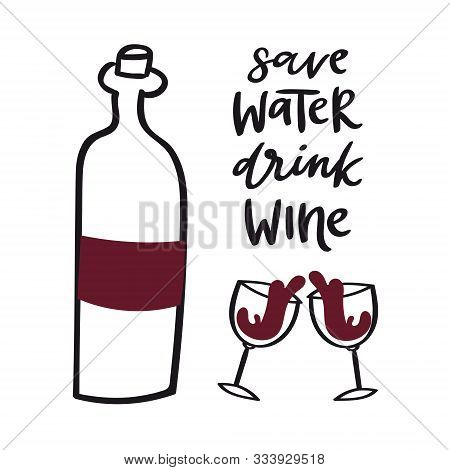 Wine Doodle Style Vector Illustration Including Bottle, Glasses With Wine-colored Liquid And Cork. R