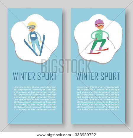 Skiing And Winters Sports Vector Banners Set. Cartoon Illustration Of Skier Sportsman Riding On Snow
