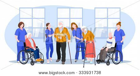 Nurse Taking Care About Seniors People In Hospital. Vector Flat Cartoon Illustration. Doctors Help E