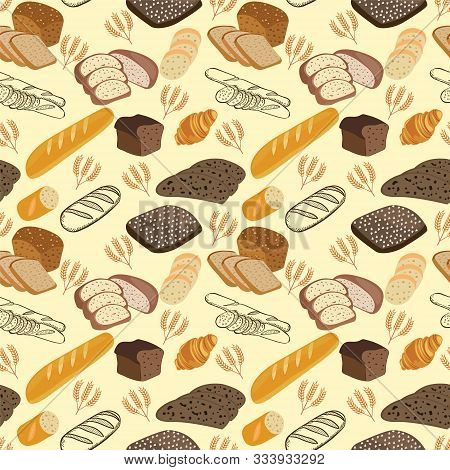 Hand Drawn Hand Drawn Bakery Doodles. Pattern Of Breads, Bakery, Bakery And Pastry Products. Rye Bre