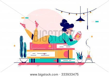 Cute Lady Lying On Stack Of Books Vector Illustration. Woman In Glasses Wearing Home Clothes And Rea