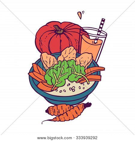 Pumpkin And Crarrot Healthy Meal And Juice Or Smoothie. Hand-drawn In Cartoon Style, Colored Artwork