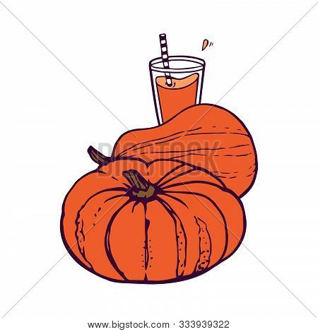 Two Whole Pumpkins And A Glass Of Pumpkin Juice.  Hand-drawn In Cartoon Style, Colored Artwork Isola