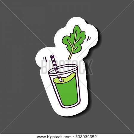 Sticker With Shadow - Glass Of Green Juice Or Smoothie With Plant Leaf. Hand-drawn In Cartoon Style,