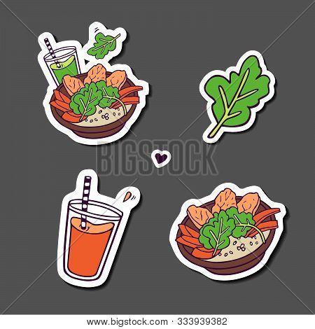 Stikers Set. Healthy Meals And Beverages. Hand-drawn In Cartoon Style, Colored Artwork Isolated With
