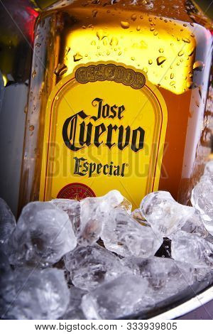 Bottles Of  Tequila Jose Cuervo In Bucket With Crushed Ice