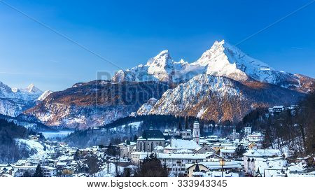 Historic Town Of Berchtesgaden With Famous Watzmann Mountain In The Background, National Park Bercht