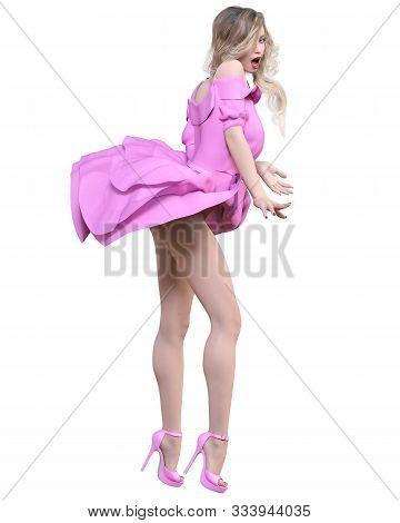 Beautiful Blonde Woman In Light Summer Waving Dress.