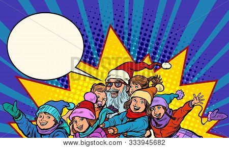 Santa Claus with children. Christmas and New year. Pop art retro vector illustration kitsch vintage poster