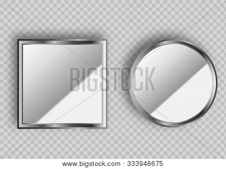 Realistic Empty Mirrors With Reflect In Mockup Style. Oval Mirror With Empty Surface On Isolated Bac