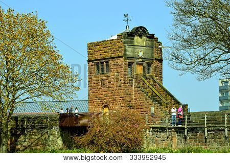 Chester, Cheshire, England, Uk, Europe - April 19, 2019 : Phoenix Tower Where King Charles I Stood O