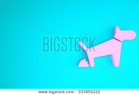 Pink Dog Pooping Icon Isolated On Blue Background. Dog Goes To The Toilet. Dog Defecates. The Concep