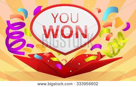 You Won Contest Concept Banner. Cartoon Illustration Of You Won Contest Vector Concept Banner For We