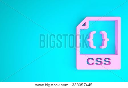 Pink Css File Document. Download Css Button Icon Isolated On Blue Background. Css File Symbol. Minim