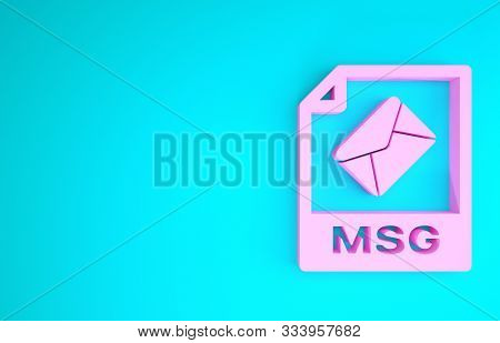 Pink Msg File Document. Download Msg Button Icon Isolated On Blue Background. Msg File Symbol. Minim