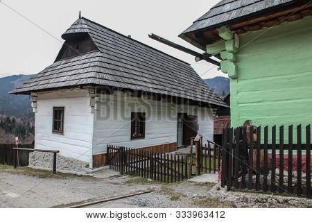 VLKOLINEC, SLOVAK REPUBLIC - DECEMBER 29, 2015: Beautiful architecture  wooden fence from UNESCo village.