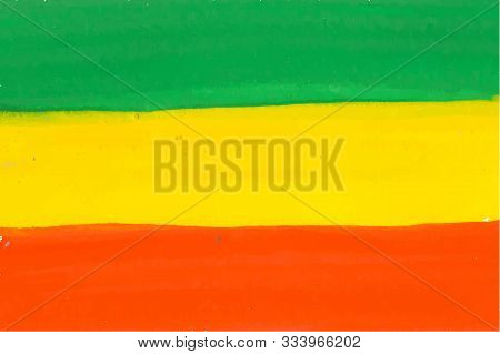 Rastafarian And Ethiopian Flag Drawn By Watercolor Paint, Vector Background With Tricolor - Red, Yel