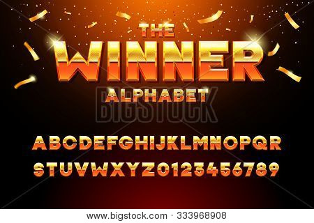 The Winner Alphabet. Vector Golden Glossy Three Dimensional Font Effect In Orange And Yellow. Metal