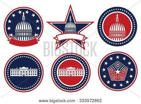 American Patriotic Red, White And Blue, Capital, White House And Pentagon Logos Isolated Vector Illu