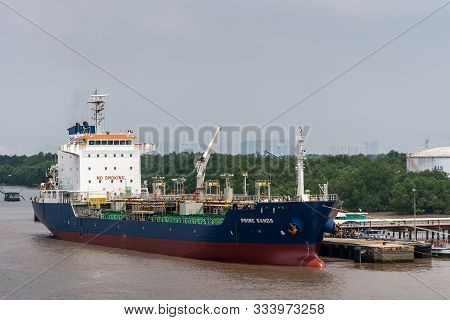 Long Tau River, Vietnam - March 12, 2019: Closeup Of Blue, Red And White Prime Sands Sea Tanker Bein