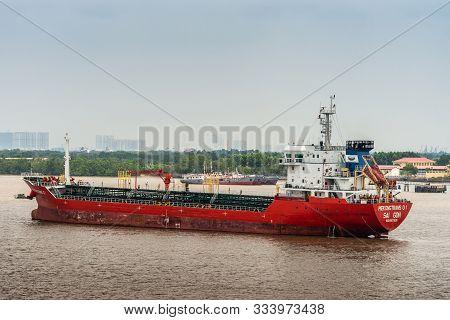 Long Tau River, Vietnam - March 12, 2019: Closeup Of Mekongtrans 01 Ship On Long Tau River In Front