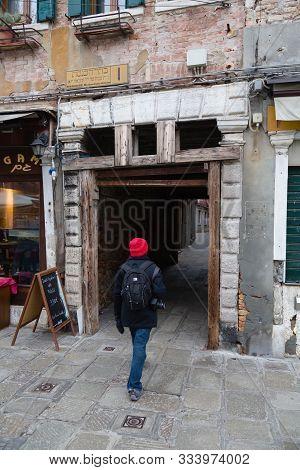Venice, Italy - December 23, 2012. Entrance To The Old Jewish Venetian Ghetto Calle Ghetto Vecchio,