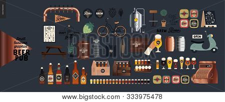 Brewery, Craft Beer Pub -small Business Graphics - Pub Elements -modern Flat Vector Concept Illustra