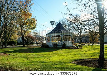 Gazebo In The Front Of Dennis Union Church In Dennis, Massachusetts On Cape Cod