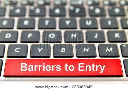 Barriers To Entry Word On Computer Keyboard, 3d Rendering