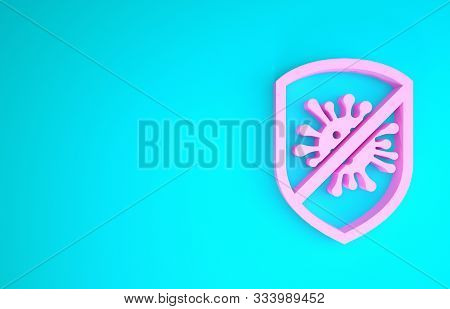 Pink Stop Virus, Bacteria, Germs And Microbe Icon Isolated On Blue Background. Antibacterial And Ant