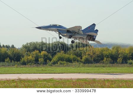 Zhukovsky, Russia - August 30, 2019: Russian Mig-35 Light Fighter On Take-off. Fragment Of The Air S