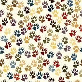 Editable vector seamless tile of dog paw prints poster