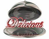 Delicious Tasty Food Silver Platter Dining Great Taste 3d Illustration poster