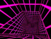 futuristic pink glow on black 3d render tiled labyrinth interior poster