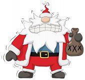 Christmas party celebration, moonshine Santa Claus intoxicated humorous cartoon illustration, horizontal, over white, isolated poster