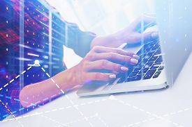 Woman Coder In Data Center