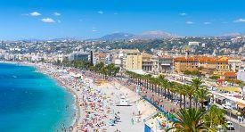 Promenade Des Anglais In Nice, France. Nice Is A Popular Mediterranean Tourist Destination, Attracti