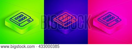 Isometric Line Books About Programming Icon Isolated On Green, Blue And Pink Background. Programming