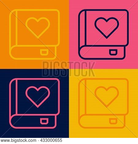 Pop Art Line Romance Book Icon Isolated On Color Background. Vector