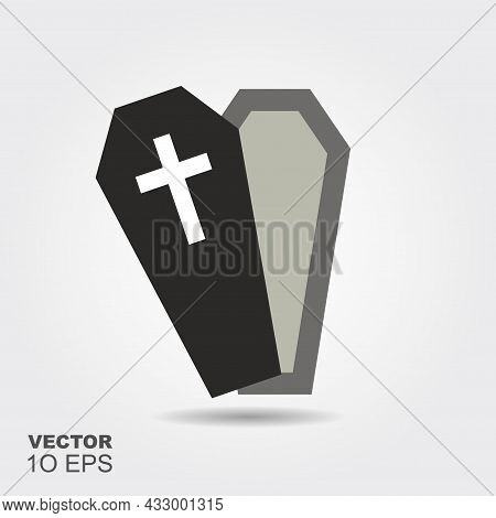 Open Coffin. Flat Silhouette Icon With Shadow