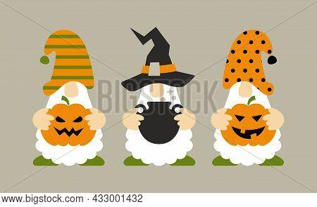 Halloween Gnomes With Pumpkin, Jack O Lantern , Pot. Cute Cartoon Characters. Holidays Greeting Card