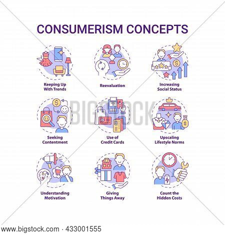 Consumerism Concept Icons Set. Mindless Purchasing. Reasons To Buy More. Spend Money. Excessive Buyi