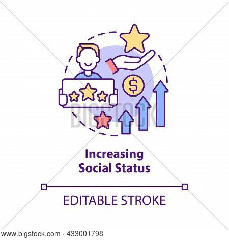 Increasing Social Status Concept Icon. Display Wealth And Possessions. Excessive Buying And Overspen