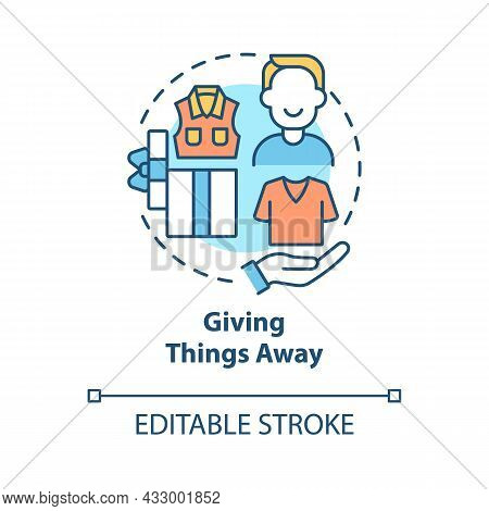 Giving Things Away Concept Icon. Donate And Gift Stuff You Do Not Need. Responsible Consumption Abst