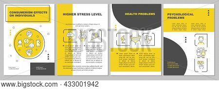 Effects Of Consumerism Yellow Brochure Template. Emotional Issues. Flyer, Booklet, Leaflet Print, Co