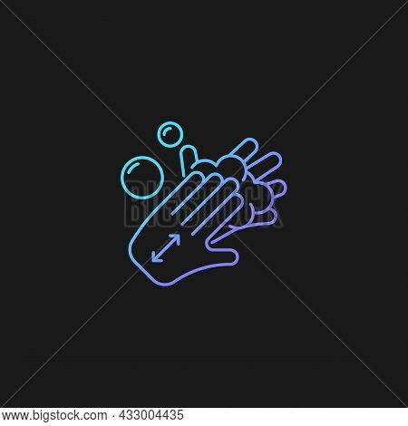 Lathering Back Of Hands Gradient Vector Icon For Dark Theme. Rubbing Hands Together With Soap. Prope