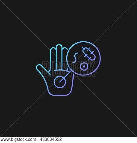 Dirty Hands Gradient Vector Icon For Dark Theme. Germs On Unwashed Hands. Spreading Infectious Disea