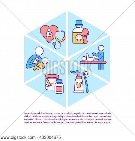 Infant Care Concept Line Icons With Text. Mother And Baby Bond. Ppt Page Vector Template With Copy S